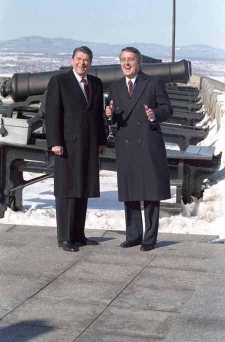President Reagan and Prime Minister Brian Mulroney of Canada, visiting The Citadel in Quebec City, Canada. 3/18/85. #CitadelleQuébec