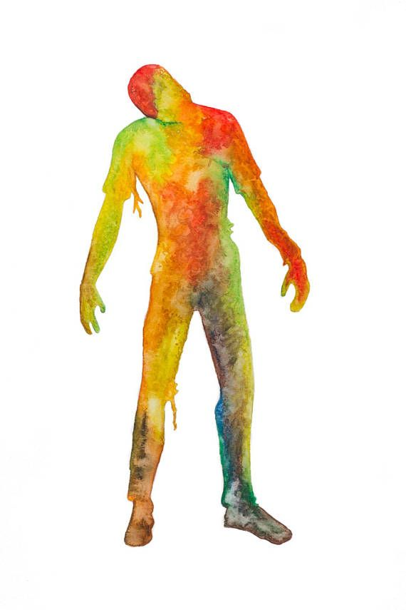 Illustration aquarelle Zombie silhouette horreur
