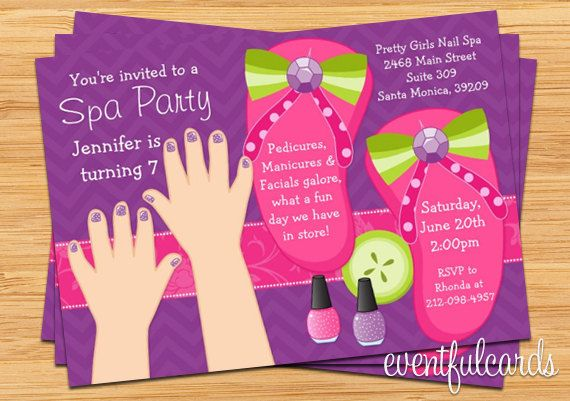 spa+party+ideas+for+girls+birthday | mani pedi spa party kids birthday invitation 15 99 usd buy now on etsy ...