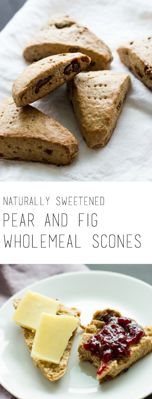 Pureed pear and dried figs make these healthy sugar free pear and fig wholemeal scones slightly sweet. Great for breakfast or as a snack with your coffee!