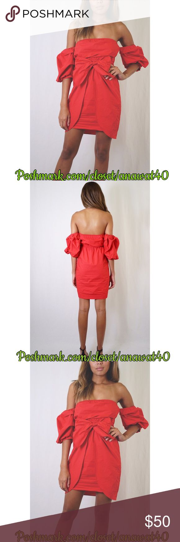 A Lil Poppin Red Dress A Lil Poppin Red Dress a lightweight red dress with a smocked off-shoulder neckline. Three-quarter sleeves with self-tie bow in front. Unlined. * Cotton * Runs true to size * Model wearing Size S * Hand Wash Tea n Cup Dresses Midi
