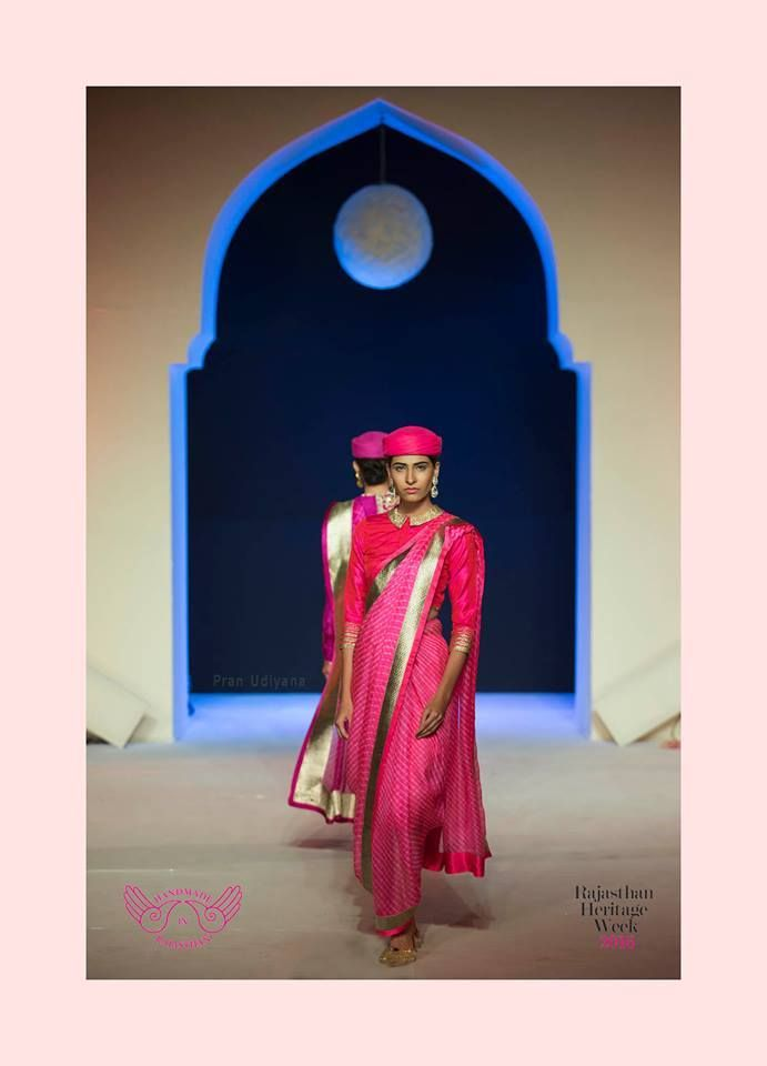 Mharo Des Collection - Rajasthan in its true form and colour with this pink leheriya by Vidhi Singhania