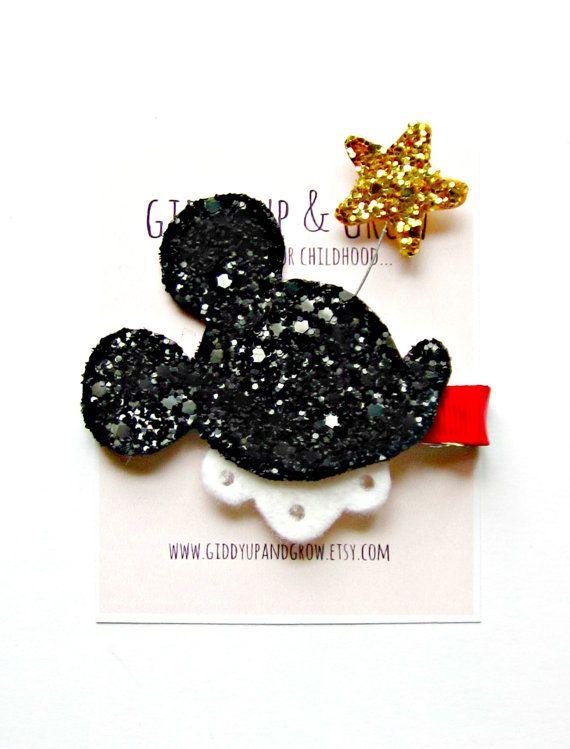 Mouse Hair Clip  Glitter Mouse with Star Glitter por giddyupandgrow