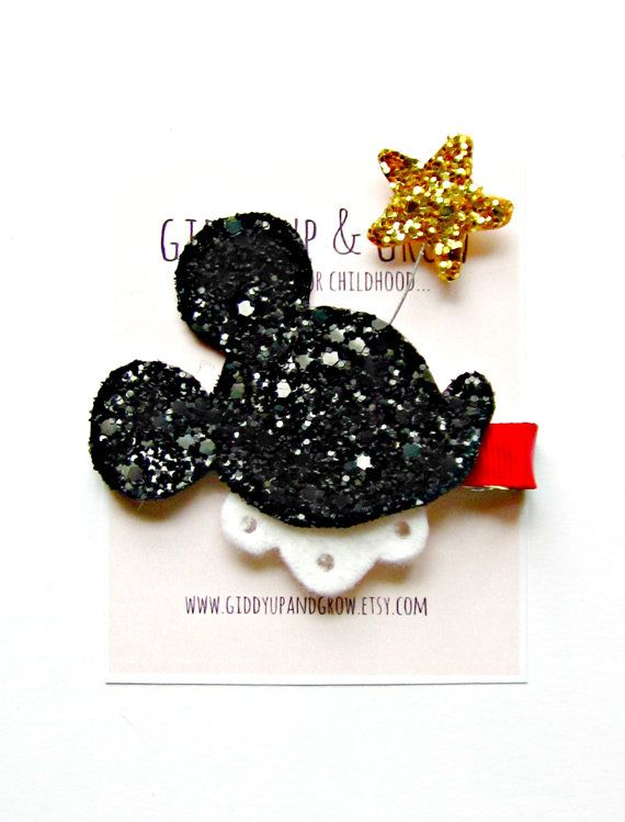 Mickey Mouse Hair Clip  Glitter Mickey Mouse by giddyupandgrow, $16.00