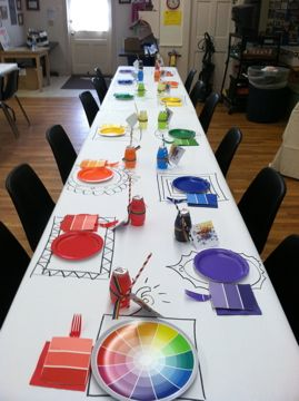 I love the idea of paper table cover to draw on!