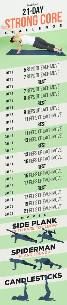 Here's your daily schedule: | Take BuzzFeed's 21-Day Strong Core Challenge
