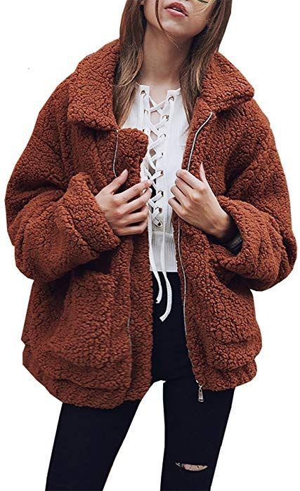 ea48cdfac PRETTYGARDEN Women's Fashion Long Sleeve Lapel Zip up Faux Shearling Shaggy  Oversized Coat Jacket with Pockets