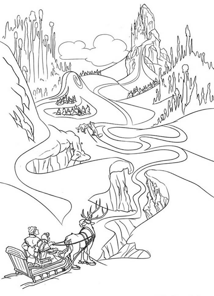 Anna Kristoff Olaf And Sven Are On The Way To Elsas Ice Palace Come Check Out This Amazing Disney Frozen Coloring Page Have Fun