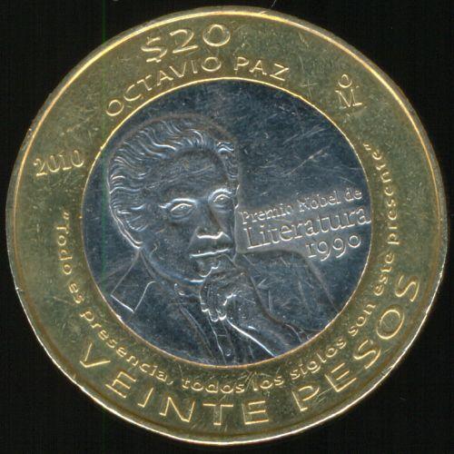 Moneda de 20 pesos conmemorativa del Premio Nobel otorgado a Octavio Paz