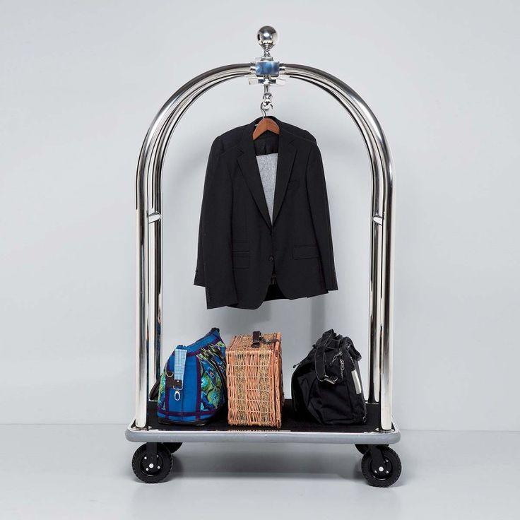 Carrello porta abiti e bagagli Vegas186x105x62nero Glamour Carrello porta abiti e bagagli con ruote.