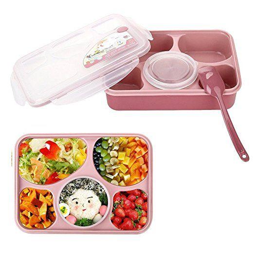 Minidiva Déjeuner Bento Box-étanche Micro-ondes et au lave-vaisselle avec Lunch Box avec 5 + 1 Séparé conteneurs (Rose)