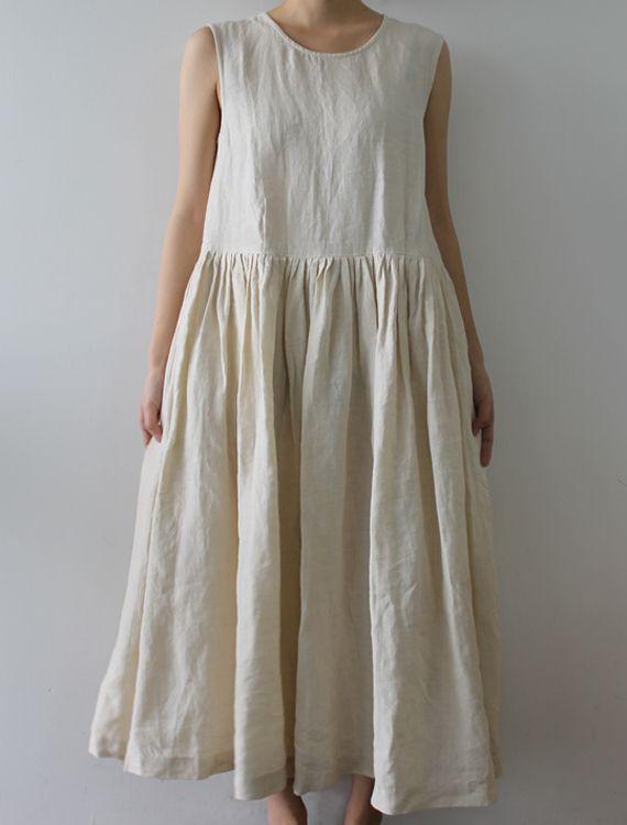 20c190afc5f79  Envelope Online Shop  Olga Lisette dress - Natural sleeveless linen  dress jumper with
