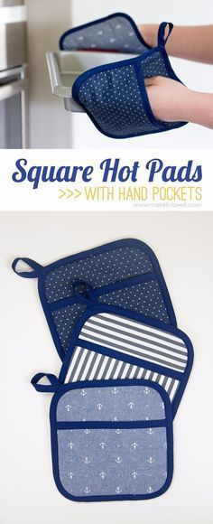 Sewing Projects for The Home - Square Hot Pads with Hand Pocket - Free DIY Sewing Patterns, Easy Ideas and Tutorials for Curtains, Upholstery, Napkins, Pillows and Decor http://diyjoy.com/sewing-projects-for-the-home