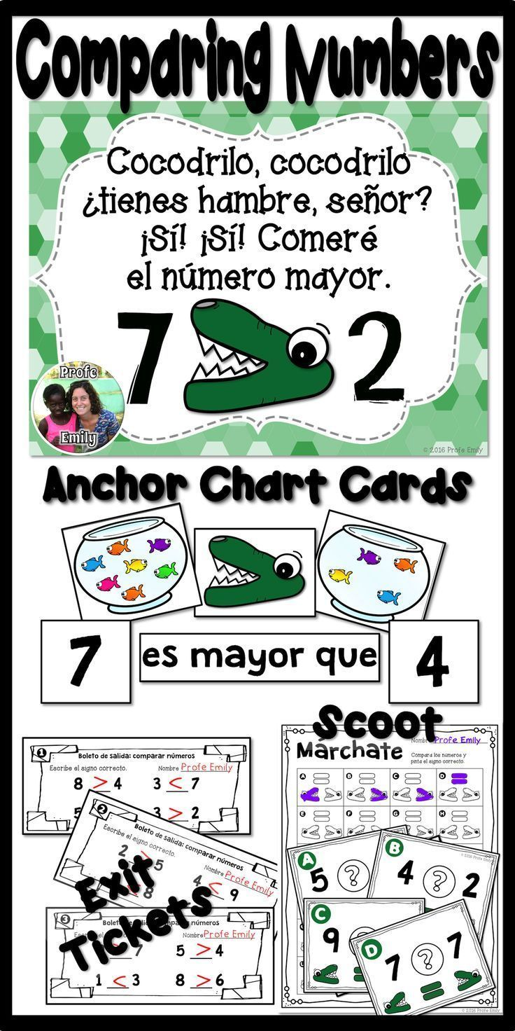 Comparing numbers in Spanish! Poems, anchor chart cards, scoot games, task cards, interactive notebook pages, and more!