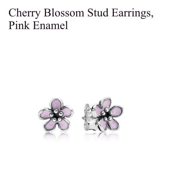 e95128ec2 get pandora cherry blossom stud earrings auth solid sterling silver with  pink enamels. brand new