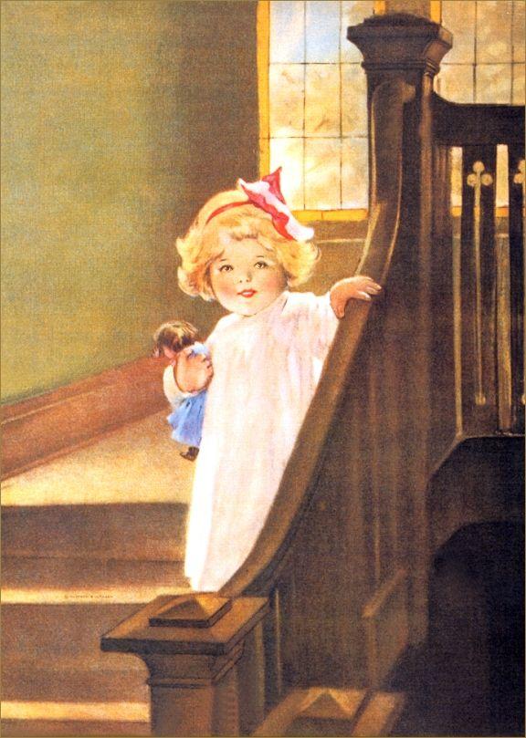 "Bessie Pease Gutmann, Illustrator, ""Good Morning Little Girl"", circa 1940."
