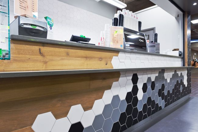 Hospitality Design - Fit Out - Coffee Dock - Shop - Station - Cafe - Hexagon Tile - Black - White - Grey - Wood - Contrast - Counter - Detail - University College Dublin, Dublin by Think Contemporary