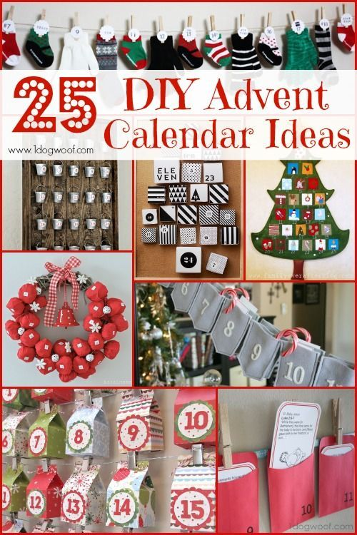 A holiday roundup of 25 DIY Christmas Advent Calendar Ideas using books, banners, boxes, and repurposed items from around the house.