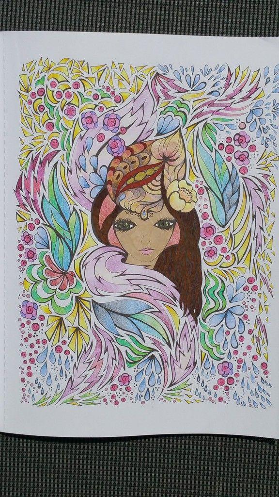 Coloriage issu du livre : Fanciful Faces - Creative Haven - Art thérapie…