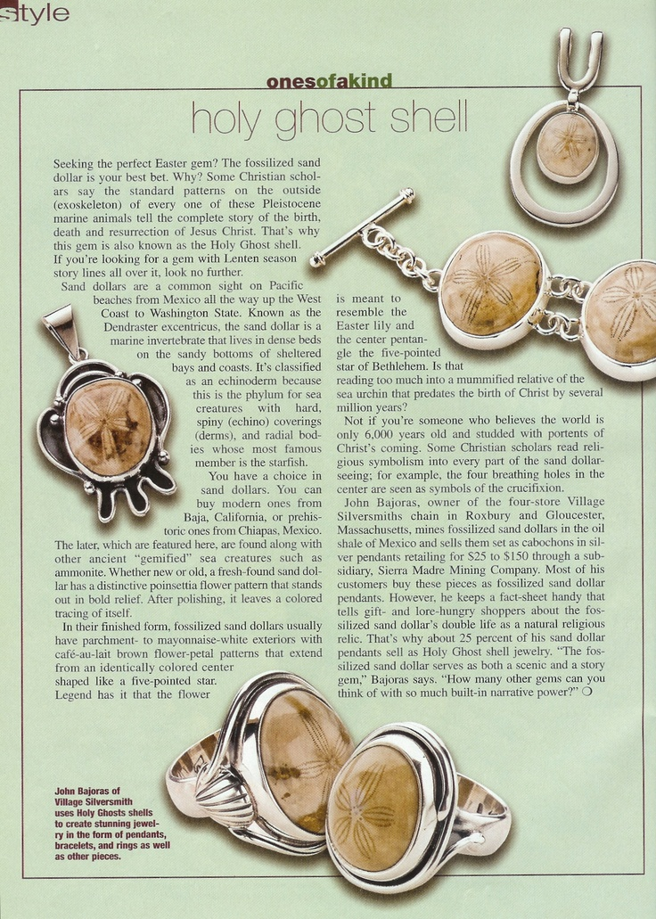 Colored Stone's article on Village Silversmith's fossilized sand dollars from Mexico. Easter gems!  www.villagesilversmith.net