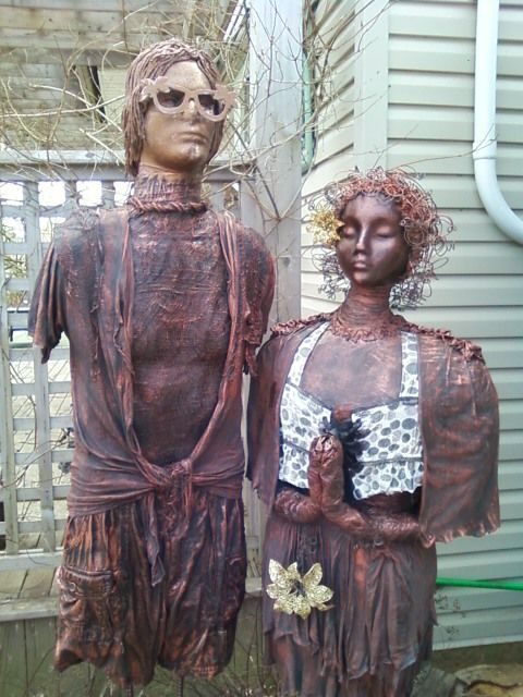 These people - 5-1/2 feet and 6 feet tall are made entirely from rebar, styrofoam, aluminum foil, old t-shirts, old cotton clothing, cheesecloth, rope and copper using paverpol.