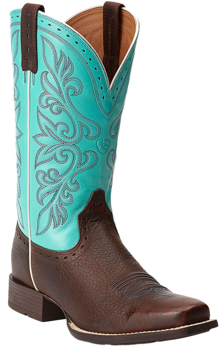 Ariat® Rundown Brown Oiled Rowdy with Turquoise Top Punchy Square Toe Cowboy Boots