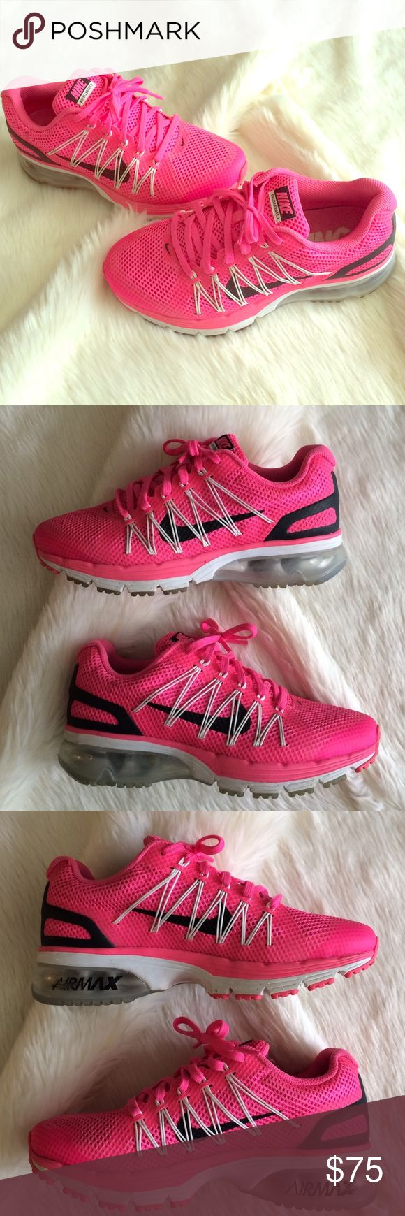 """💗👟Women's Nike Excellerate 3 Air Max!👟💗 💗👟Women's Nike Excellerate 3 Air Max!👟💗Size 7. Fit true to size. In Excellent Used Condition! VERY minimal wear to shoes as reflected in photos! These are very clean + have only been worn a few times. """"Air Max"""" logo on the inside of each shoe is slightly scuffed. These look awesome with leggings + sweats for bumming around campus this fall!📚📓Reasonable Offers Via the 👉🏼""""Offer""""👈🏼Button Only Please!😊🚫No Trades🚫 Nike Shoes Athletic Shoes"""