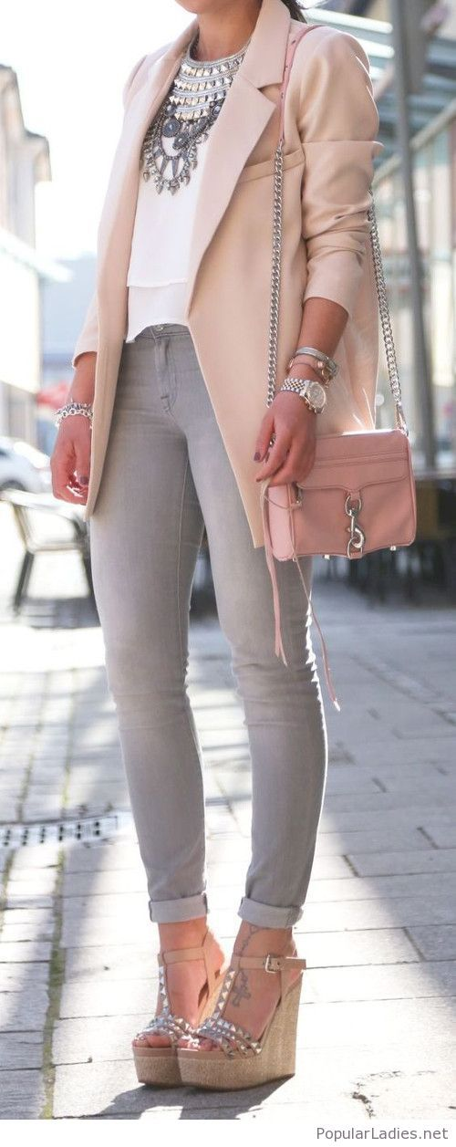 Nice street office style with jeans and blazer