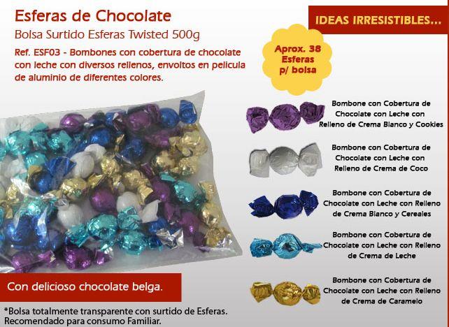 Las Esferas son chocolates con un cover de la mejor chocolate belga y diferentes rellenos. ¡Probar ahora!