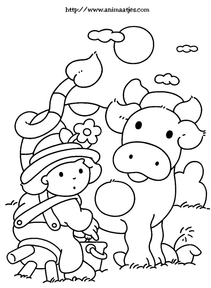 Kleurplaat: koe