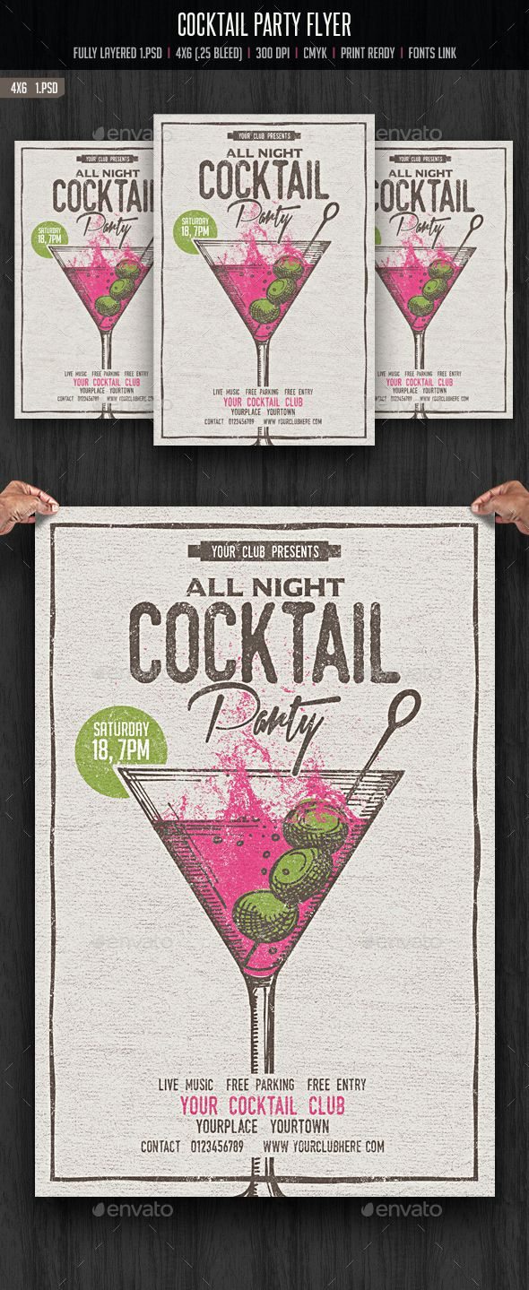 Cocktail Party Flyer Template PSD. Download here: http://graphicriver.net/item/cocktail-party-flyer/14658988?ref=ksioks