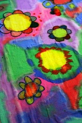 Faux batik with permanent markers and watered-down acrylics.  I think we'll do this on t-shirts next week!