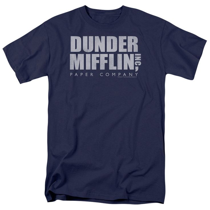 The Office - Dunder Mifflin Distressed Adult T-Shirt is officially licensed, made of 100% pre-shrunk cotton and available in navy. Whether you're a Office Super fan or just looking to geek out at home