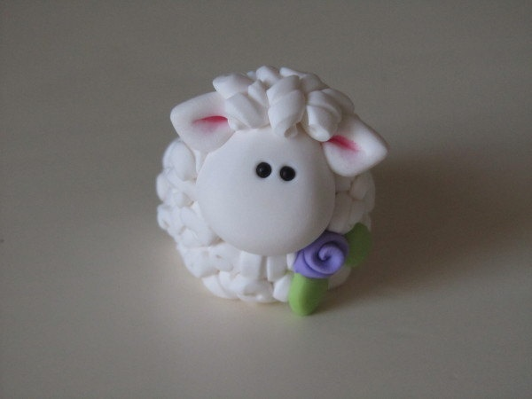 Polymer Clay Easter Lamb Figurine by ClayPeeps on Etsy