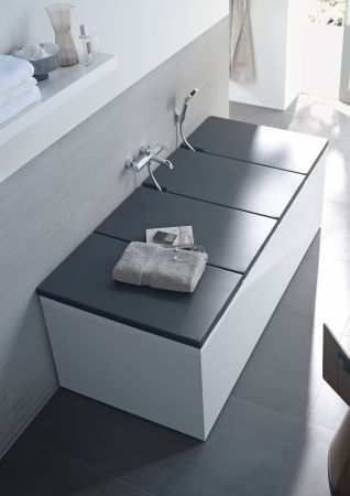 "Duravit - Bathtub covers allow you to use one or all panels on your tub- now it is a changing table for baby, a ""relaxation deck"", or use one across the middle as you soak to hold a book or wine, or stuff to give yourself a manicure while you soak."