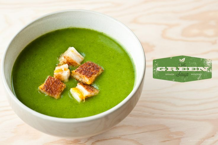 Spinach & potato soup with grilled cheese croutons