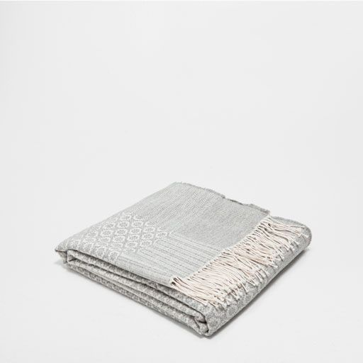 JACQUARD COTTON AND WOOL BLANKET