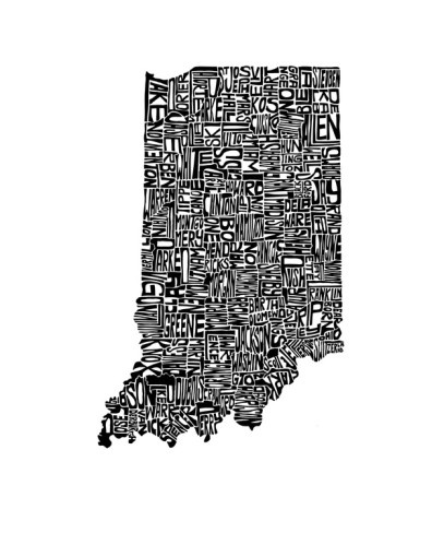 Cool Typography Map Of Indiana