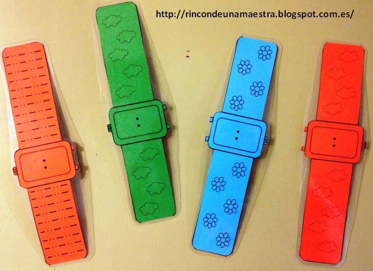 Al igual que os enseñé los Relojes de muñeca analógicos; como ahora hemos empezado a trabajar el reloj digital, he hecho estos relojes dig...