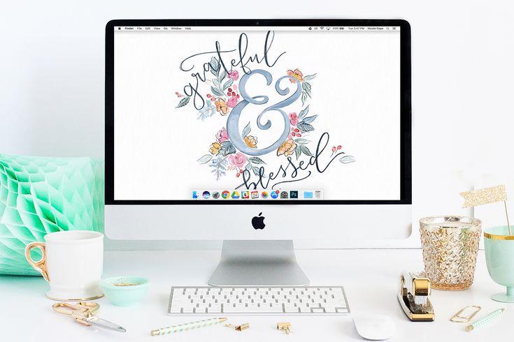 Grateful & Blessed Free November Desktop Wallpaper Download
