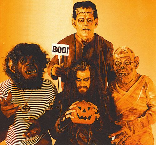 rob zombie with a werewolf frankenstein and a mummy pumpkin halloween creatures of the night werewolves wolfman - Rob Zombie Halloween Music