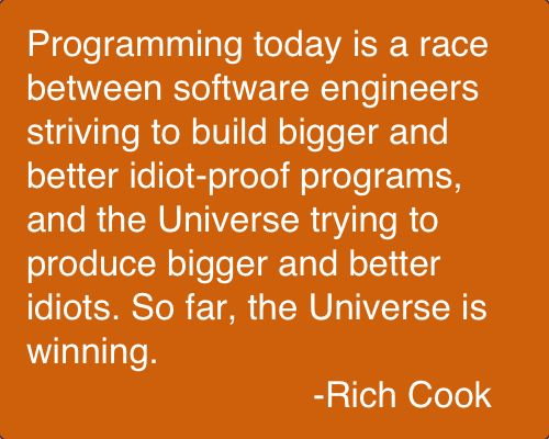 Rick Cook (born 1944) is a light fantasy author from the United States, best known for his Wizardry series of books. His writing includes many jokes that are hard to appreciate without having a background in systems-level programming, though the books themselves can easily be enjoyed by readers without such a background