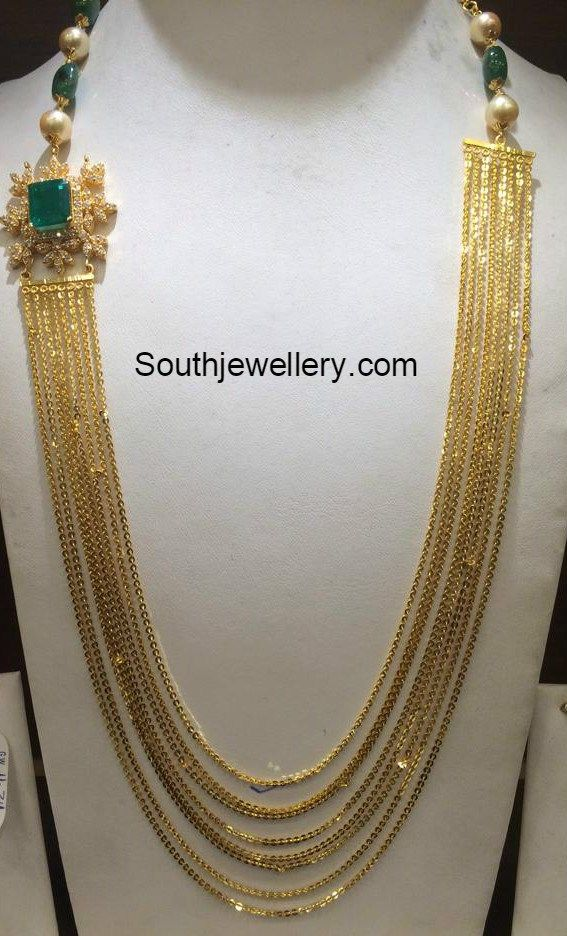Chandraharam with Diamond Side Pendant