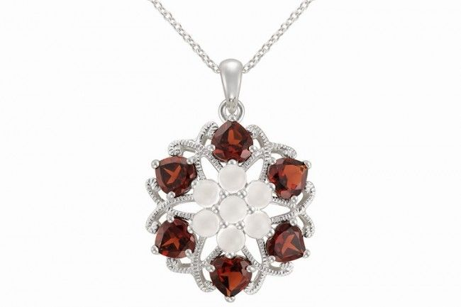 Platinum on Silver Ruby Flower Pendant