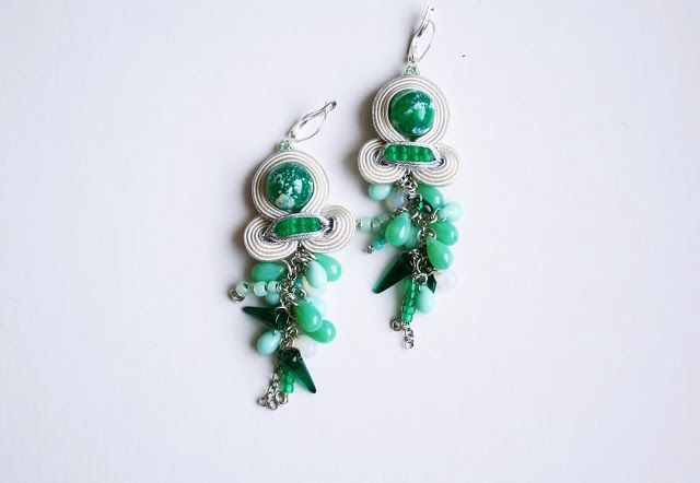 emerald winter / soutache earrings / winter accessories