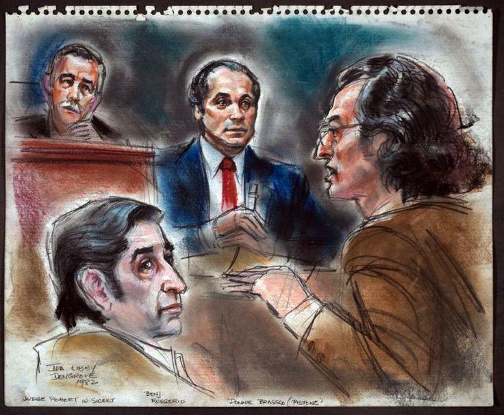 "Joe Pistone (Donnie Brasco) giving testimony at a 1982 trial with Benjamin ""Lefty Guns"" Ruggiero. Courtroom Sketch by Ida Libby Dengrove."