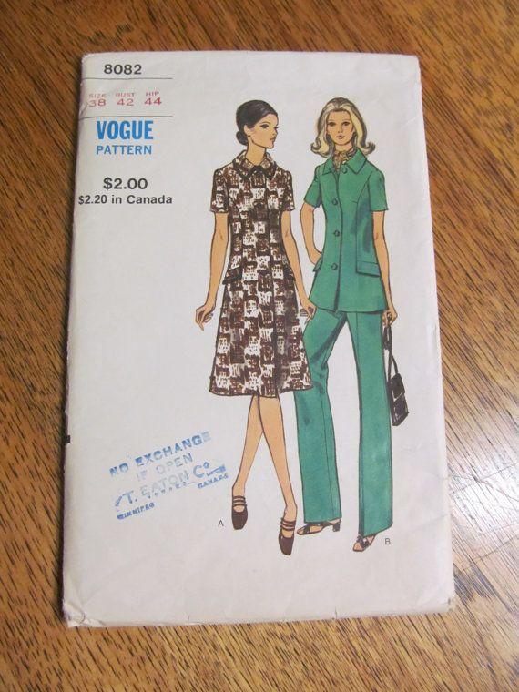 MOD 1960s A Line Fit and Flare Dress, Coatdress, Pantsuit & Trousers - Plus Size 38 - VINTAGE Sewing Pattern Vogue 8082