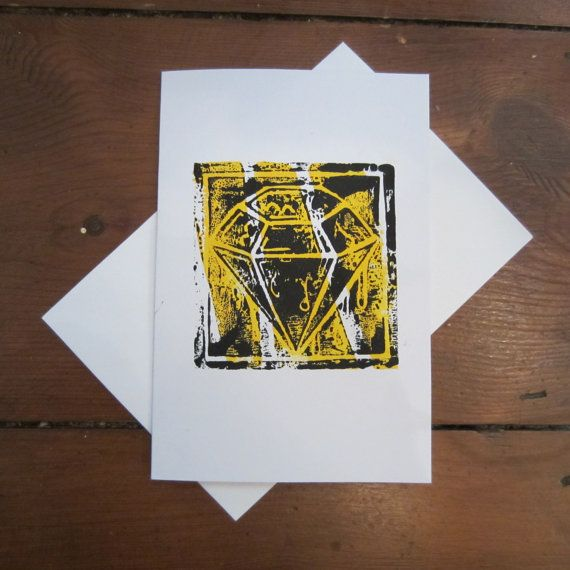 DIAMOND CARD (Black on Yellow) on Etsy, £2.07