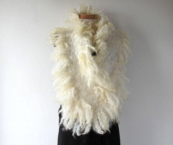 Voelde krullend bont sjaal wit bont kraag Hand vilten door galafilc