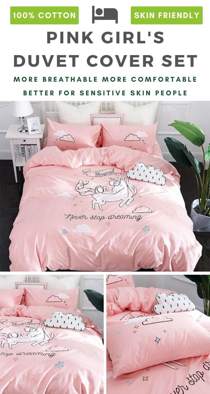 Pink Unicorn 100 Cotton Bedding Set For Girls Cotton Bedding Sets Cotton Bedding Bedding Set
